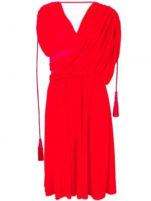 Платье миди с короткими рукавами - красное Lanvin