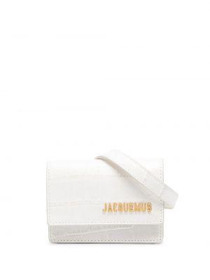 Золотистая кожаная белая поясная сумка Jacquemus