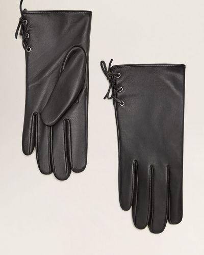 Черные кожаные перчатки Mango
