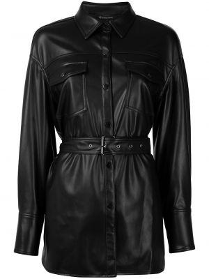 Кожаное пальто - черное Armani Exchange