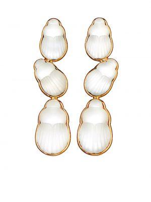 Żółte złote kolczyki sztyfty perły Lito