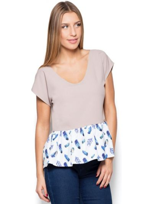 Beżowa bluzka materiałowa Katrus