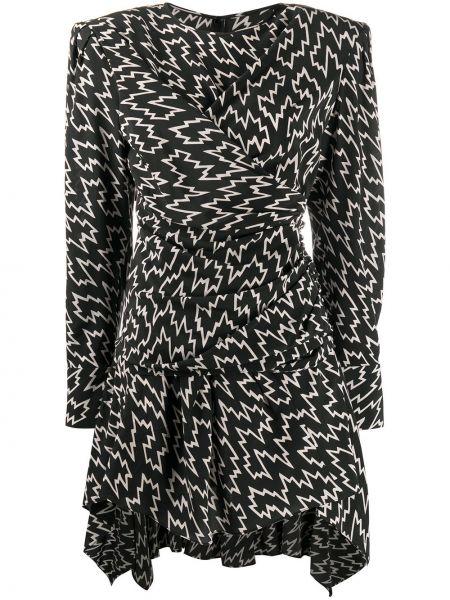 Jedwab czarny asymetryczny długo sukienka z falbankami Isabel Marant