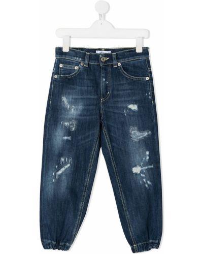 Хлопковые классические синие джинсы классические с карманами Dondup Kids