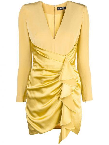 Желтое приталенное платье мини с V-образным вырезом с драпировкой Haney