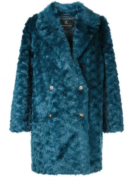 Синее пальто с капюшоном на пуговицах Unreal Fur