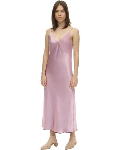 Satynowa różowa sukienka midi Lesyanebo