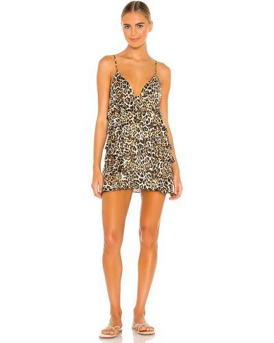 Z paskiem brązowy włókienniczy sukienka mini na paskach Majorelle