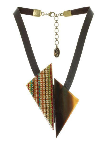 Со стрелками коричневое кожаное ожерелье Nature Bijoux