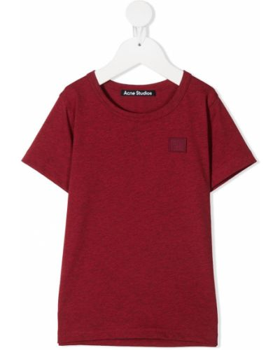 Прямая красная с рукавами футболка Acne Studios