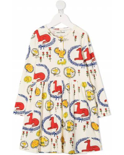 Sukienka mini rozkloszowana z długimi rękawami w kwiaty Mini Rodini