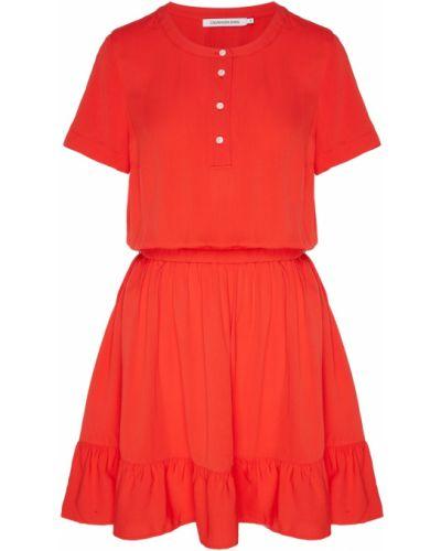 Платье мини на пуговицах со складками Calvin Klein