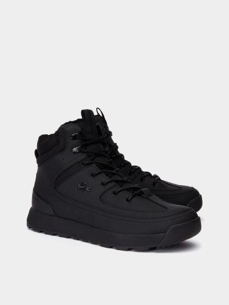 Кожаные ботинки - черные Lacoste