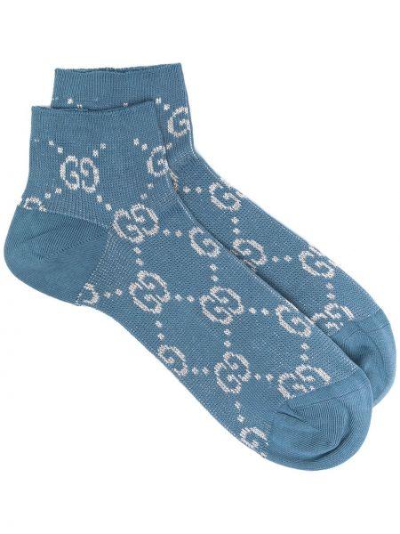 Niebieskie skarpety bawełniane z printem Gucci
