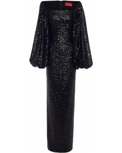 Платье макси с пайетками - черное Solace London