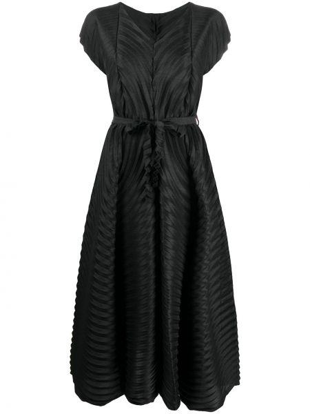 Черное плиссированное платье мини с V-образным вырезом с короткими рукавами Issey Miyake