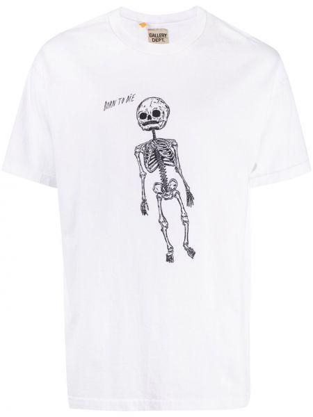 Biały t-shirt krótki rękaw z printem Gallery Dept.