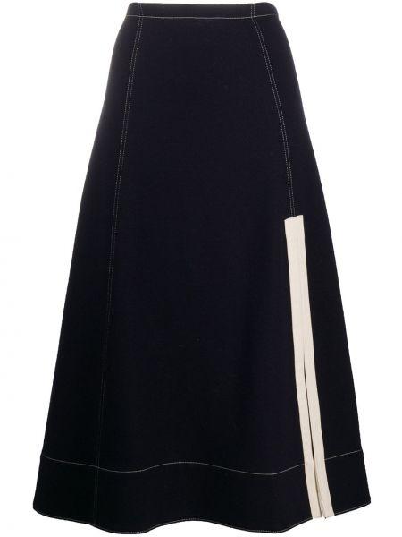 Шерстяная синяя с завышенной талией юбка миди с разрезом Jil Sander