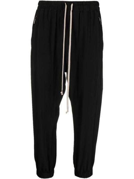 Czarne spodnie z wysokim stanem z jedwabiu Rick Owens