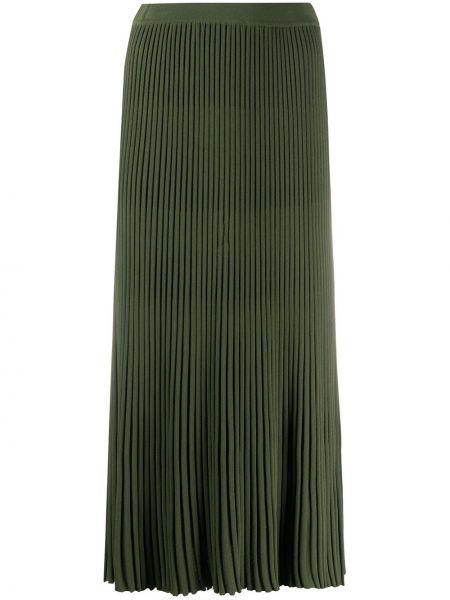 Зеленая плиссированная юбка миди из вискозы Christian Wijnants