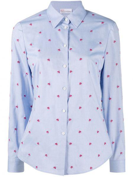Синяя классическая рубашка с длинными рукавами с воротником Red Valentino