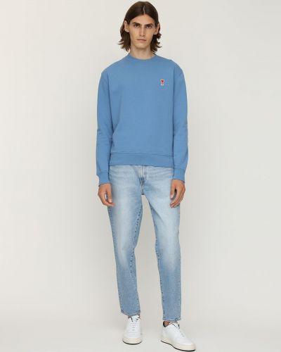 Bawełna bawełna niebieski bluza z haftem Ami Alexandre Mattiussi