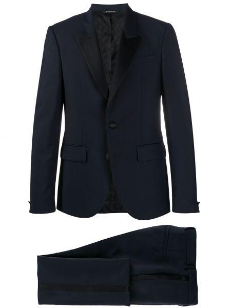 Czarny garnitur wełniany z długimi rękawami Givenchy