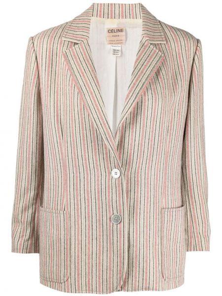 Шерстяной удлиненный пиджак в полоску на пуговицах Céline Pre-owned