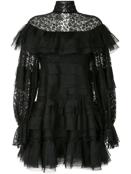 Расклешенное платье из фатина со вставками с воротником Carolina Herrera