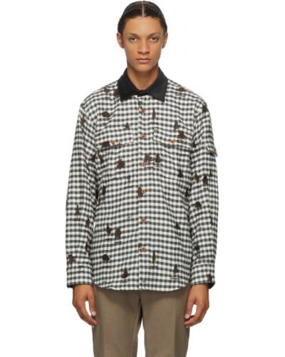 Черная фланелевая рубашка с воротником с вышивкой Phipps