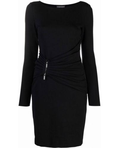 Черное платье из вискозы Emporio Armani