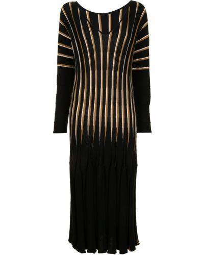 Шерстяное прямое черное платье миди Ginger & Smart