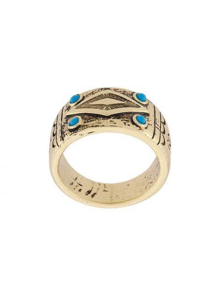 Золотистое кольцо золотое круглое Nialaya Jewelry