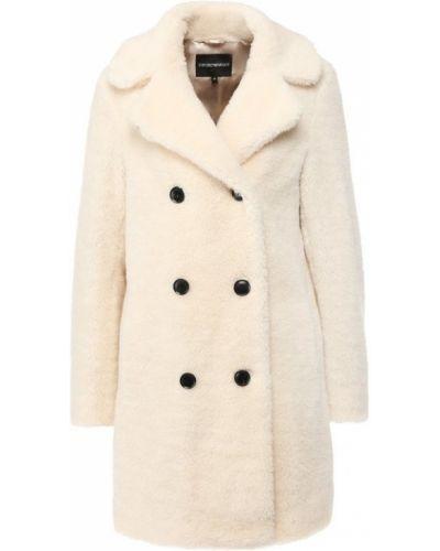 Пальто двубортное с отложным воротником Emporio Armani