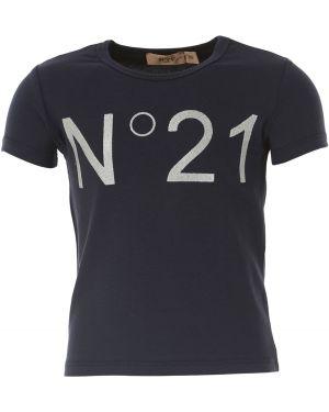 Niebieski t-shirt bawełniany krótki rękaw No. 21
