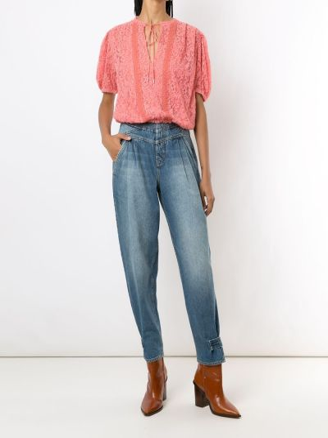 Розовая блузка прозрачная с завязками НК
