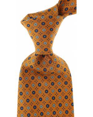 Żółty krawat z jedwabiu Marinella