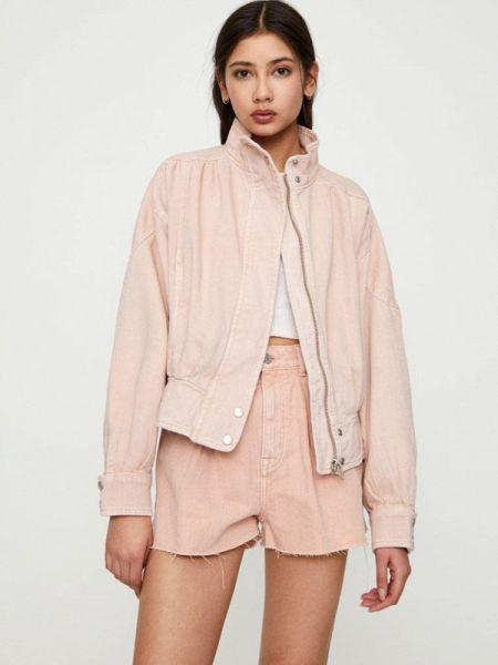 Джинсовая куртка осенняя розовая Pull&bear
