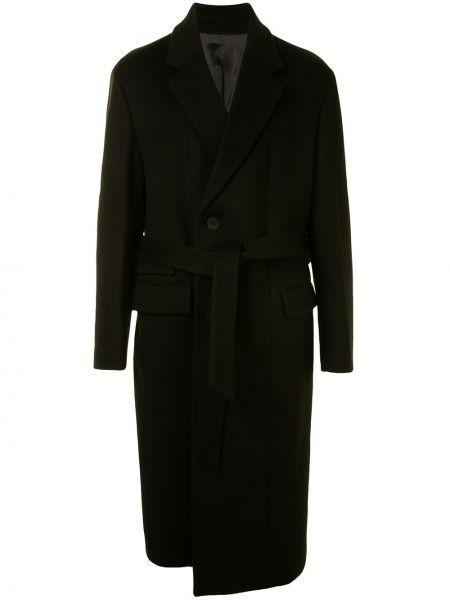 Черное шерстяное длинное пальто с лацканами с карманами Wooyoungmi