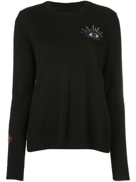 Czarny z kaszmiru sweter z haftem Nicole Miller