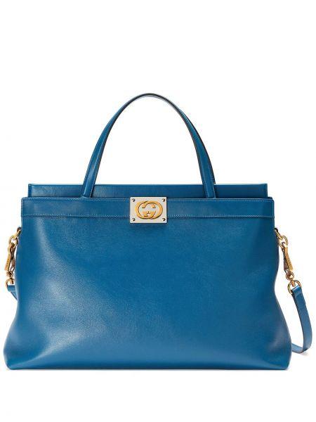 Синяя золотистая кожаная сумка на плечо Gucci