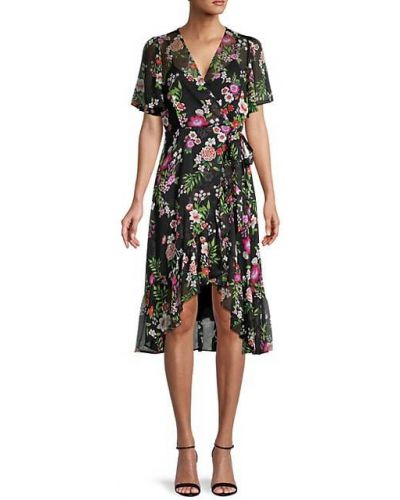 Шифоновое черное платье в цветочный принт Calvin Klein