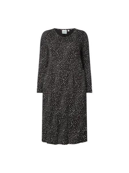 Czarna sukienka rozkloszowana z wiskozy Junarose