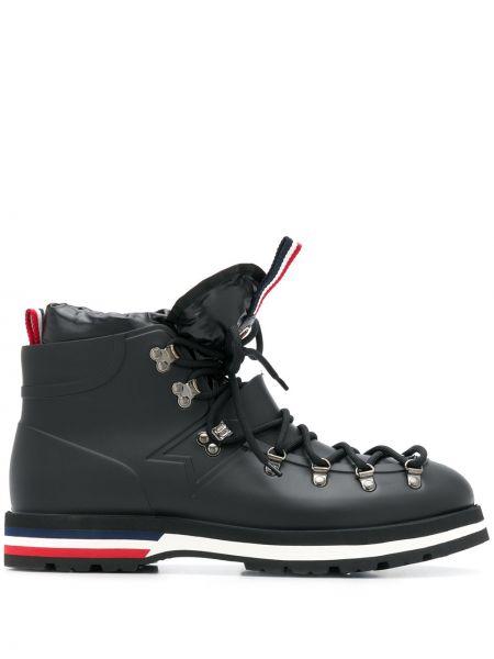 Skórzany czarny buty na pięcie z łatami okrągły Moncler
