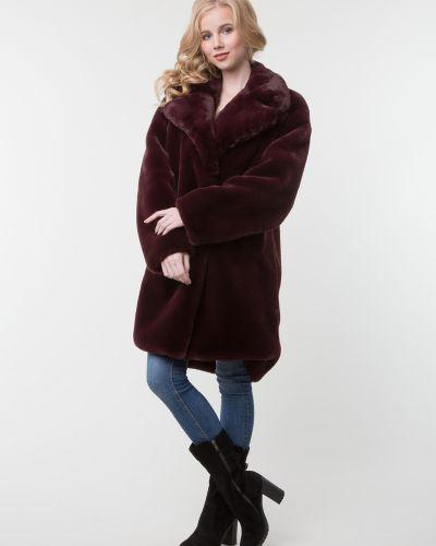 Прямое красное пальто с воротником каляев