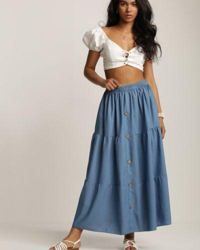 Niebieska spódnica materiałowa Renee
