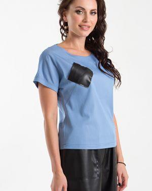 Кожаная блузка - голубая Taiga