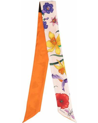 Шелковая оранжевая резинка для волос с вышивкой Gucci