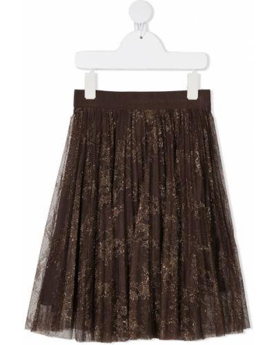 Коричневая юбка миди из фатина Ermanno Scervino Junior