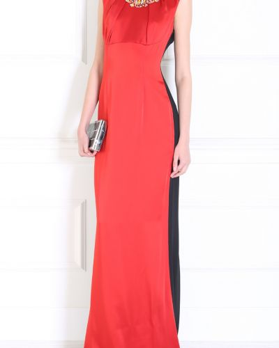 Шелковое модное красное платье макси Jonathan Saunders